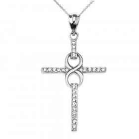 Diamond Infinity Cross Pendant Necklace in 9ct White Gold