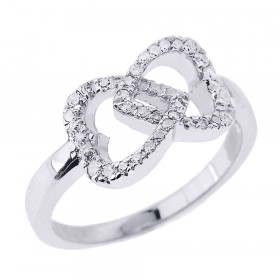 Diamond Infinity Double Heart Promise Ring in 9ct White Gold