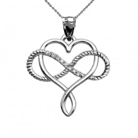 0.05ct Diamond Infinity Heart Intertwined Rope Necklace in 9ct White Gold