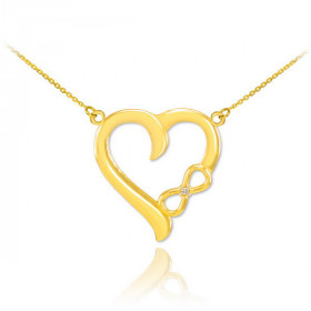Diamond Infinity Heart Pendant Necklace in 9ct Gold