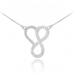 Diamond Infinity Heart Pendant Necklace in 9ct White Gold