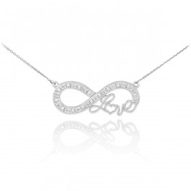 Diamond Infinity Love Script Pendant Necklace in 9ct White Gold