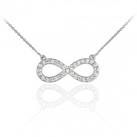 Diamond Infinity Pendant Necklace in 9ct White Gold