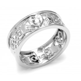 Diamond Knot Claddagh Wedding Ring in 9ct White Gold