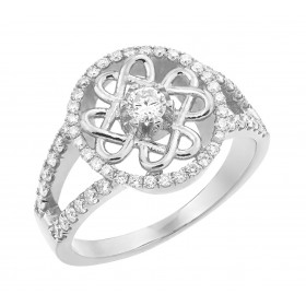 Diamond Knot Engagement Ring in 9ct White Gold