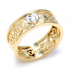 Diamond Knot Wedding Ring in 9ct Two-Tone Gold