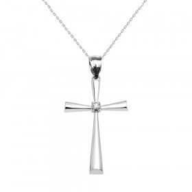 0.05ct Diamond Large Beauty Cross Pendant Necklace in Sterling Silver