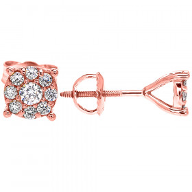 Diamond Large Halo Cluster Stud Earrings in 9ct Rose Gold