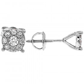 Diamond Large Halo Cluster Stud Earrings in 9ct White Gold
