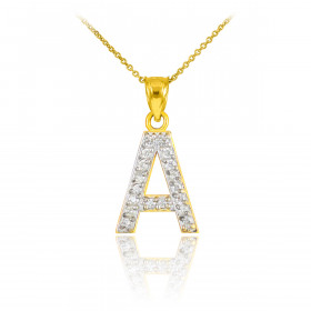 Diamond Letter A Pendant Necklace in 9ct Gold