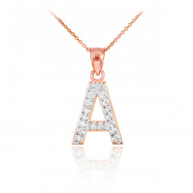 Diamond Letter A Pendant Necklace in 9ct Rose Gold