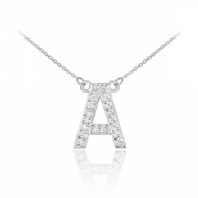 Diamond Letter A Pendant Necklace in 9ct White Gold