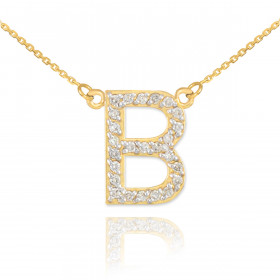 Diamond Letter B Pendant Necklace in 9ct Gold