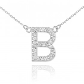 Diamond Letter B Pendant Necklace in 9ct White Gold
