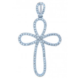 Diamond Loop Cross Pendant Necklace in 9ct White Gold