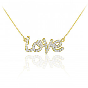 Diamond Love Pendant Necklace in 9ct Gold