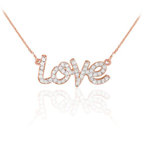 Diamond Love Pendant Necklace in 9ct Rose Gold