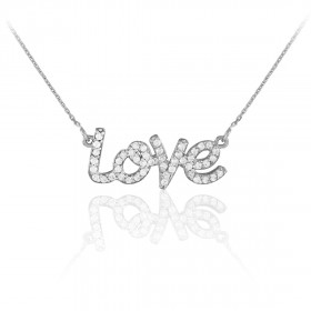 Diamond Love Pendant Necklace in 9ct White Gold