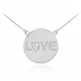 Diamond Love Script Disc Pendant Necklace in 9ct White Gold