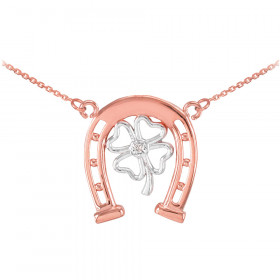 Diamond Lucky Horseshoe 4-Leaf Clover Necklace in 9ct Two-Tone Gold
