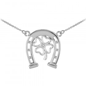 Diamond Lucky Horseshoe 4 Leaf Clover Necklace in 9ct White Gold