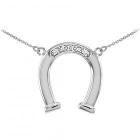 Diamond Lucky Horseshoe Pendant Necklace in 9ct White Gold