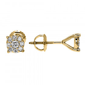 Diamond Medium Halo Cluster Stud Earrings in 9ct Gold