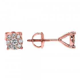 Diamond Medium Halo Cluster Stud Earrings in 9ct Rose Gold