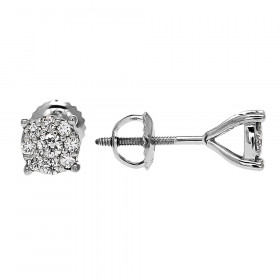 Diamond Medium Halo Cluster Stud Earrings in 9ct White Gold