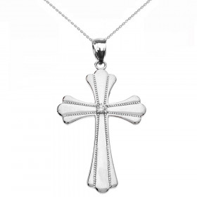 Diamond Medium Milgrain Cross Pendant Necklace in 9ct White Gold