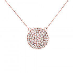 0.5ct Diamond Micro-Pave Circle Pendant Necklace in 9ct Rose Gold