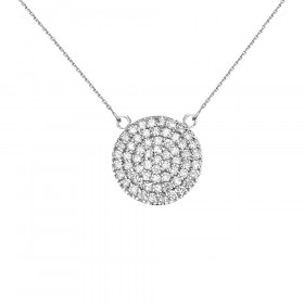 0.5ct Diamond Micro-Pave Circle Pendant Necklace in 9ct White Gold