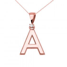 0.025ct Diamond Milgrain Letter A Pendant Necklace in 9ct Rose Gold