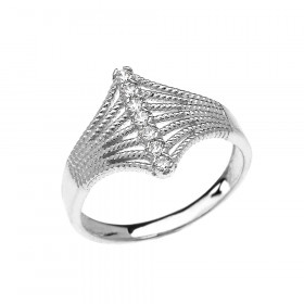 0.1ct Diamond Modern 7 Stone Rope Design Twisted Rope Ring in 9ct White Gold