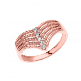0.1ct Diamond Modern Chevron 5 Stone Rope Design Twisted Rope Ring in 9ct Rose Gold