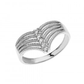 0.1ct Diamond Modern Chevron 5 Stone Rope Design Twisted Rope Ring in 9ct White Gold