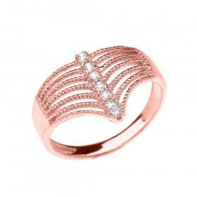 0.12ct Diamond Modern Chevron 7 Stone Rope Design Twisted Rope Ring in 9ct Rose Gold