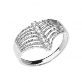 0.12ct Diamond Modern Chevron 7 Stone Rope Design Twisted Rope Ring in 9ct White Gold