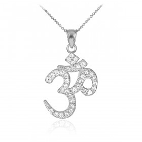 Diamond Om (Ohm) Pendant Necklace in 9ct White Gold