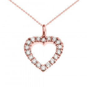 0.1ct Diamond Open Heart Charm Pendant Necklace in 9ct Rose Gold