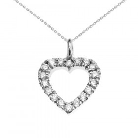0.1ct Diamond Open Heart Charm Pendant Necklace in 9ct White Gold
