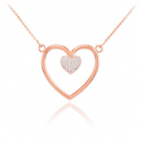 Diamond Open Heart Pave Heart Enclosure Necklace in 9ct Rose Gold