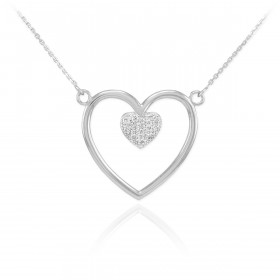 Diamond Open Heart Pave Heart Enclosure Necklace in 9ct White Gold