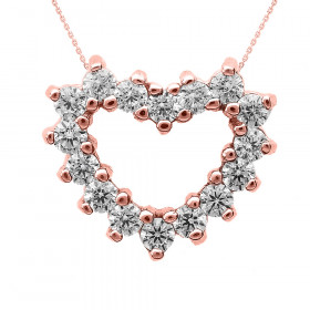 Diamond Open Heart Pendant Necklace in 9ct Rose Gold
