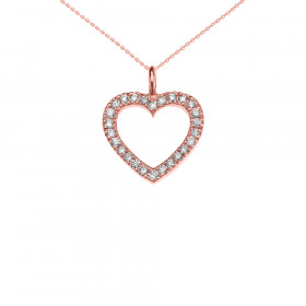 0.2ct Diamond Open Heart Pendant Necklace in 9ct Rose Gold