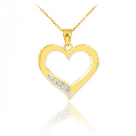 Diamond Open Heart Pendant Necklace in 9ct Two-Tone Gold