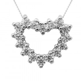 Diamond Open Heart Pendant Necklace in 9ct White Gold