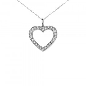 0.2ct Diamond Open Heart Pendant Necklace in 9ct White Gold