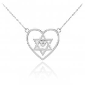 Diamond Open Heart Star of David Pave Heart Necklace in 9ct White Gold