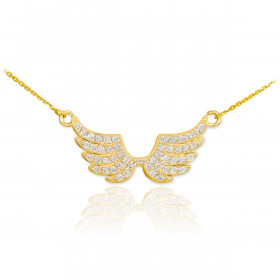 Diamond Pave Studded Wings Pendant Necklace in 9ct Gold
